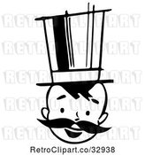 Vector Clip Art of Retro Happy Boy with a Mustache and Top Hat by Picsburg