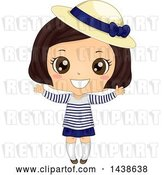 Vector Clip Art of Retro Happy Brunette Girl in a Breton Shirt and Derby Hat by BNP Design Studio
