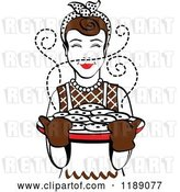 Vector Clip Art of Retro Happy Brunette Housewife Holding Freshly Baked Cookies 2 by Andy Nortnik