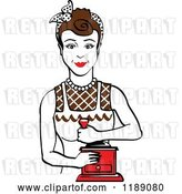Vector Clip Art of Retro Happy Brunette Housewife Using a Manual Coffee Grinder by Andy Nortnik