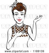 Vector Clip Art of Retro Happy Brunette Housewife, Waitress or Maid Lady Wearing an Apron and Presenting by Andy Nortnik