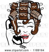 Vector Clip Art of Retro Happy Brunette Housewife with Her Hair up in Curlers, Laughing While Talking on a Landline Telephone by Andy Nortnik