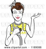 Vector Clip Art of Retro Happy Brunette Lady Shrugging and Using a Salt Shaker 2 by Andy Nortnik
