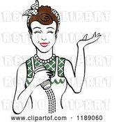 Vector Clip Art of Retro Happy Brunette Lady Shrugging and Using a Salt Shaker 5 by Andy Nortnik