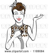 Vector Clip Art of Retro Happy Brunette Lady Shrugging and Using a Salt Shaker by Andy Nortnik
