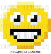 Vector Clip Art of Retro Happy Cartoon 8 Bit Video Game Style Emoji Smiley Face by AtStockIllustration