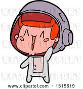 Vector Clip Art of Retro Happy Cartoon Astronaut Waving by Lineartestpilot