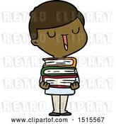 Vector Clip Art of Retro Happy Cartoon Boy with Stack of Books by Lineartestpilot