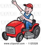 Vector Clip Art of Retro Happy Cartoon Landscaper Waving and Operating a Lawn Mower by Patrimonio