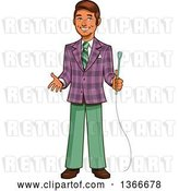 Vector Clip Art of Retro Happy Cartoon Male Game Show Host Holding a Microphone and Gesturing by Clip Art Mascots