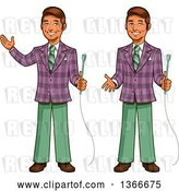 Vector Clip Art of Retro Happy Cartoon Male Game Show Host Shown Holding a Microphone, Gesturing and Presenting by Clip Art Mascots