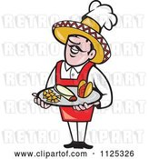 Vector Clip Art of Retro Happy Cartoon Mexican Chef Carrying a Tray with a Taco Burrito and Tortilla Chips by Patrimonio