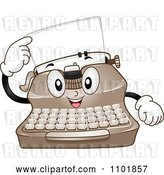 Vector Clip Art of Retro Happy Cartoon Typewriter Pointing to a Page by BNP Design Studio