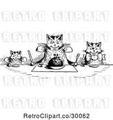 Vector Clip Art of Retro Happy Cats Eating at a Table by Prawny Vintage