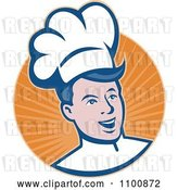 Vector Clip Art of Retro Happy Chef Smiling over a Circle of Orange Rays by Patrimonio