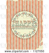 Vector Clip Art of Retro Happy Christmas Holly Circle on Grungy Orange Stripes and Snowflakes by Elaineitalia