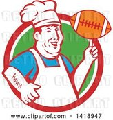Vector Clip Art of Retro Happy Chubby Male Chef Spinning a Football on His Finger in a Red White and Green Circle by Patrimonio