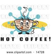 Vector Clip Art of Retro Happy Coffee Cup Character with Steamy Hot Coffee by Andy Nortnik