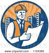 Vector Clip Art of Retro Happy Construction Engineer Reading Blueprints in a City Circle by Patrimonio