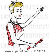 Vector Clip Art of Retro Happy Dirty Blond Housewife Singing and Holding a Spoon in the Kitchen by Andy Nortnik