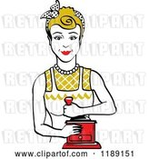 Vector Clip Art of Retro Happy Dirty Blond Housewife Using a Manual Coffee Grinder by Andy Nortnik
