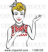 Vector Clip Art of Retro Happy Dirty Blond Housewife, Waitress or Maid Lady Wearing an Apron and Presenting 2 by Andy Nortnik