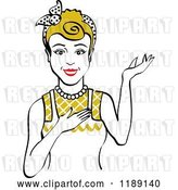 Vector Clip Art of Retro Happy Dirty Blond Housewife, Waitress or Maid Lady Wearing an Apron and Presenting by Andy Nortnik