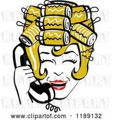 Vector Clip Art of Retro Happy Dirty Blond Housewife with Her Hair up in Curlers, Laughing While Talking on a Landline Telephone by Andy Nortnik