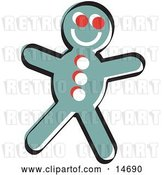 Vector Clip Art of Retro Happy Gingerbread Guy Cookie Clipart Illustration by Andy Nortnik