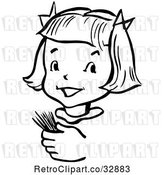 Vector Clip Art of Retro Happy Girl Holding Toothpicks in by Picsburg