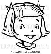 Vector Clip Art of Retro Happy Girl in by Picsburg