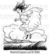 Vector Clip Art of Retro Happy Girl Jumping by Prawny Vintage