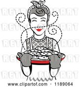 Vector Clip Art of Retro Happy Gray Haired Housewife Holding Freshly Baked Cookies by Andy Nortnik