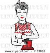 Vector Clip Art of Retro Happy Gray Haired Housewife Using a Manual Coffee Grinder 2 by Andy Nortnik