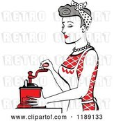 Vector Clip Art of Retro Happy Gray Haired Housewife Using a Manual Coffee Grinder in Profile 2 by Andy Nortnik