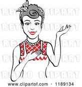 Vector Clip Art of Retro Happy Gray Haired Housewife, Waitress or Maid Lady Wearing an Apron and Presenting 2 by Andy Nortnik