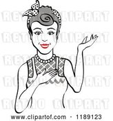 Vector Clip Art of Retro Happy Gray Haired Housewife, Waitress or Maid Lady Wearing an Apron and Presenting by Andy Nortnik