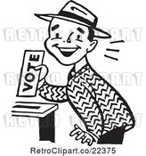 Vector Clip Art of Retro Happy Guy Casting His Vote by BestVector