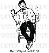 Vector Clip Art of Retro Happy Guy Smoking in a Chair by Prawny Vintage