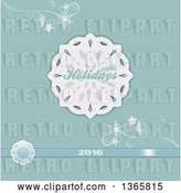 Vector Clip Art of Retro Happy Holidays 2016 Greeting with a Paper Snowflake, Ribbon and Flourishes on Pastel Blue by Elaineitalia