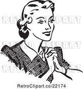 Vector Clip Art of Retro Happy Lady Holding Her Hands to Her Chest by BestVector