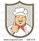 Vector Clip Art of Retro Happy Male Chef with a Mustache, Holding a Thumb up in a Taupe and Brown Shield by Patrimonio