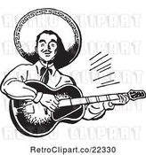 Vector Clip Art of Retro Happy Mexican Mariachi Guitarist by BestVector
