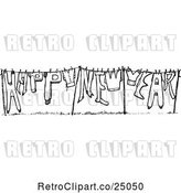 Vector Clip Art of Retro Happy New Year Clothesline by Prawny Vintage