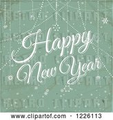 Vector Clip Art of Retro Happy New Year Greeting over Distressed Green and Snowflakes by Elaineitalia