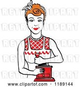 Vector Clip Art of Retro Happy Red Haired Housewife Using a Manual Coffee Grinder 2 by Andy Nortnik