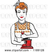 Vector Clip Art of Retro Happy Red Haired Housewife Using a Manual Coffee Grinder by Andy Nortnik