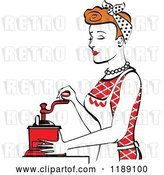Vector Clip Art of Retro Happy Red Haired Housewife Using a Manual Coffee Grinder in Profile 2 by Andy Nortnik
