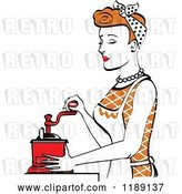 Vector Clip Art of Retro Happy Red Haired Housewife Using a Manual Coffee Grinder in Profile by Andy Nortnik