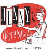 Vector Clip Art of Retro Happy Redhaired Lady in an Apron, Ironing Clothes on a Jenny's Happy Maids Advertisement by Andy Nortnik